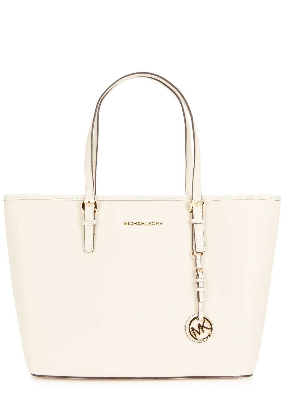 85b6e2cbcb3c ... coupon michael kors jet set travel off white leather tote in white lyst  2a3a4 2576c