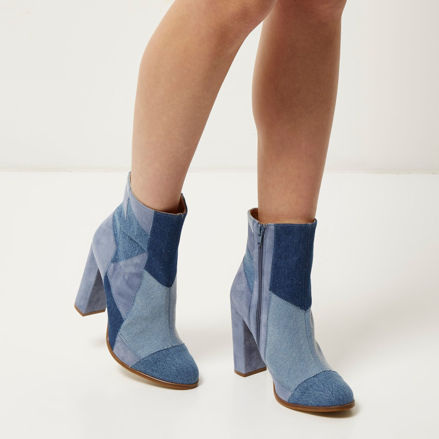 river island blue denim patchwork heeled ankle boots in
