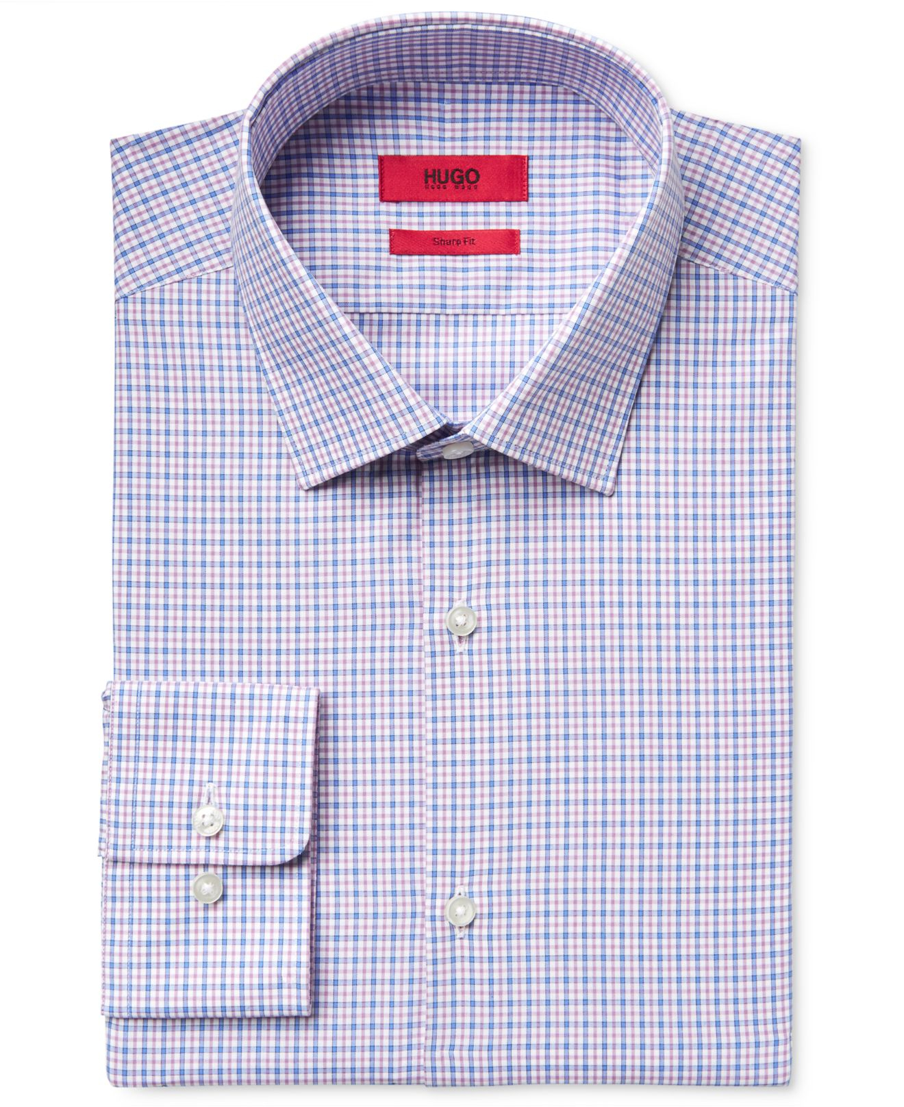 Lyst Boss Hugo Men 39 S Slim Fit Pink Check Dress Shirt In