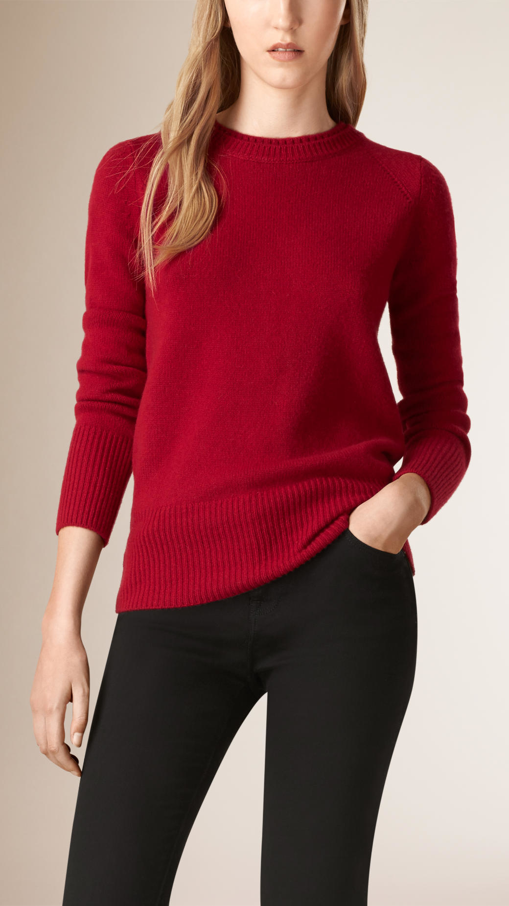 Burberry Crew Neck Cashmere Sweater Parade Red in Red | Lyst