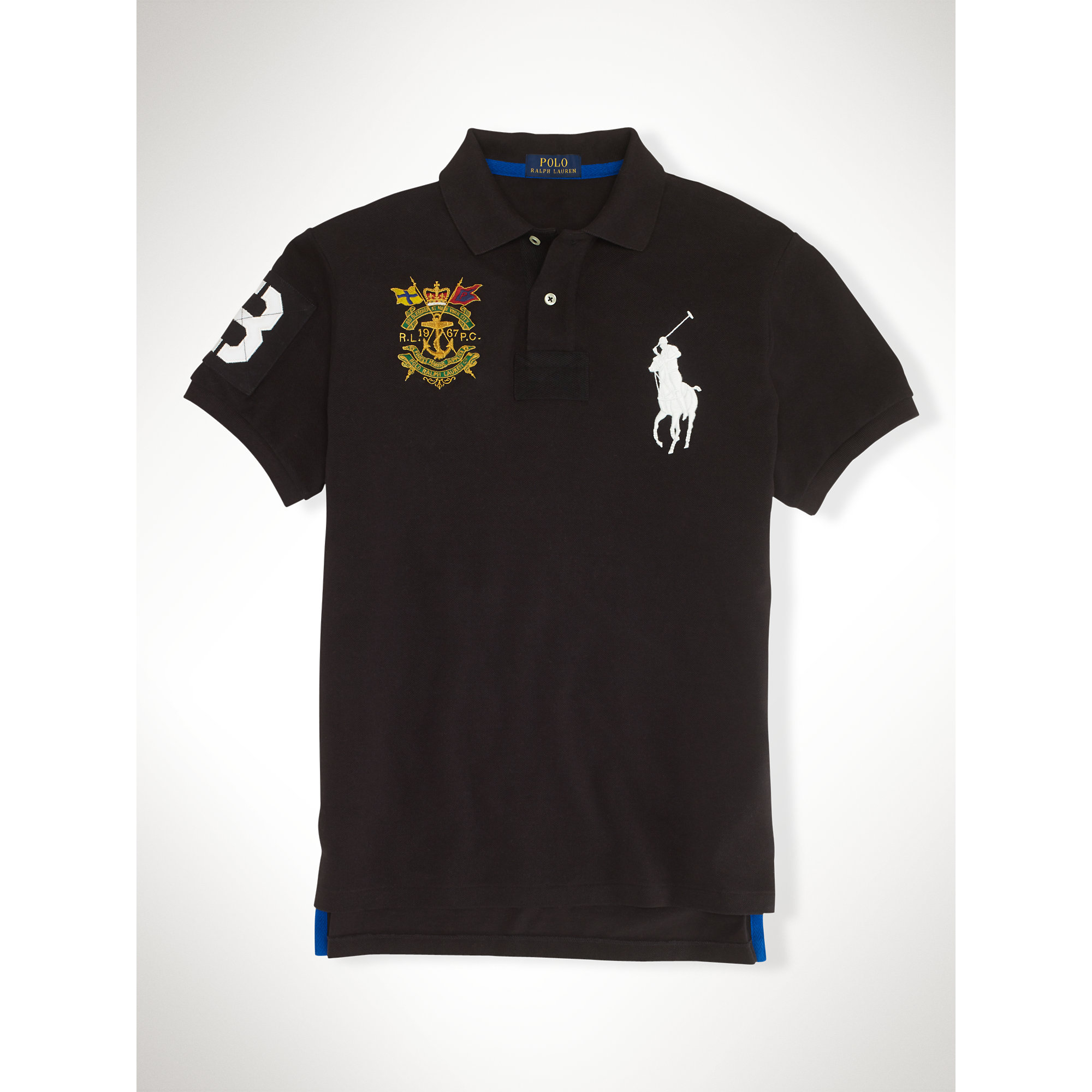 Ralph Lauren | Black Custom-Fit Big Pony Crest Polo for Men | Lyst. View Fullscreen