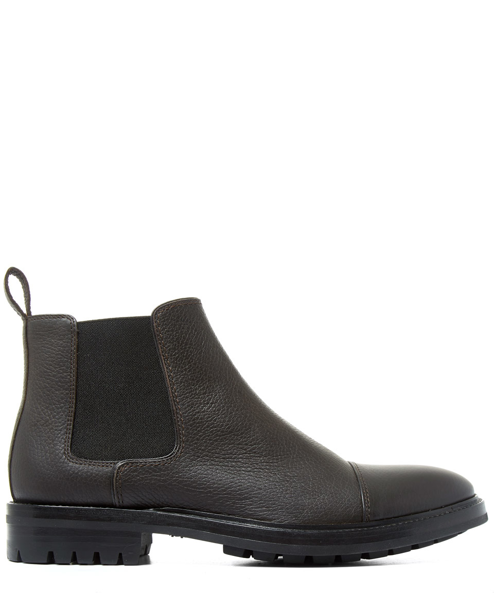 lanvin brown commando sole leather chelsea boots in brown
