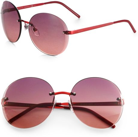 fd4bfcc6fcfd Gucci Oversized Rimless Shield Sunglasses
