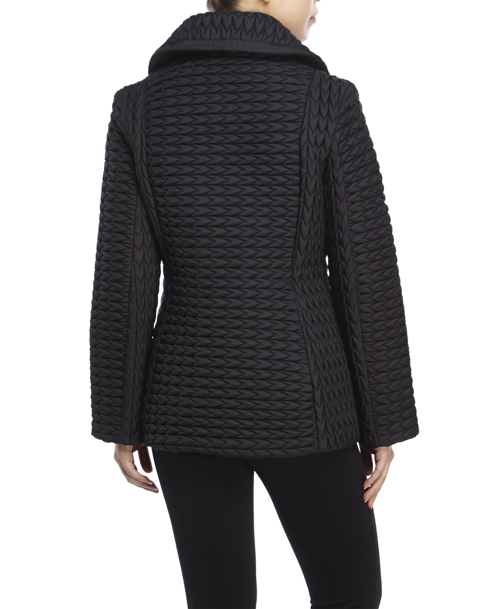 Lyst Anne Klein Popcorn Quilted Jacket In Black