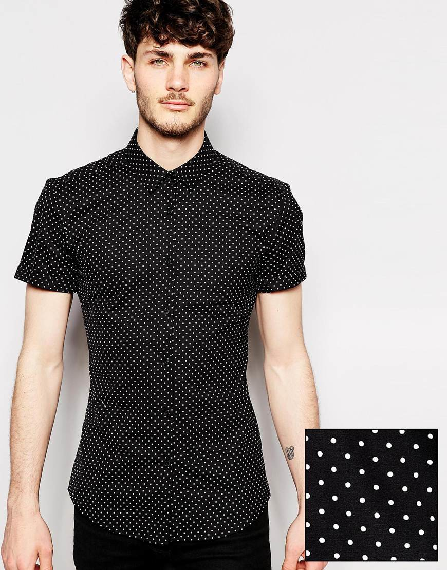 Asos skinny fit shirt in short sleeve with polka dot in for Mens polka dot shirt short sleeve