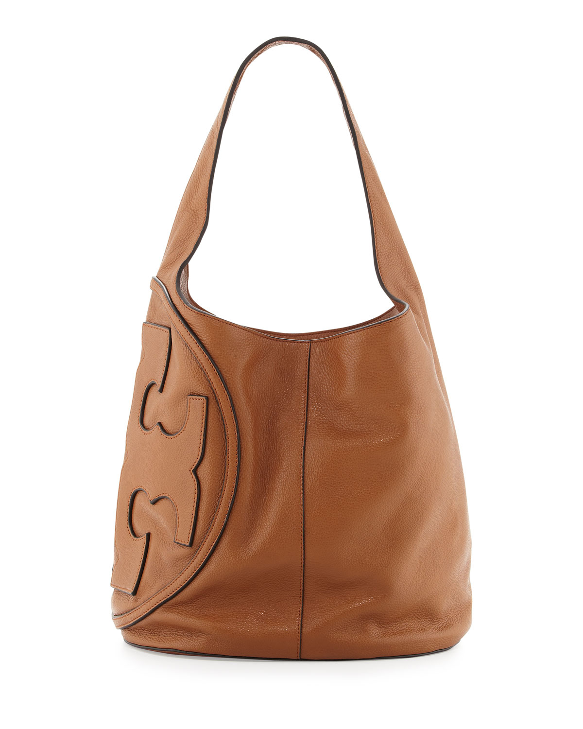 Tory Burch All T Pebbled Leather Hobo In Brown Bark Lyst