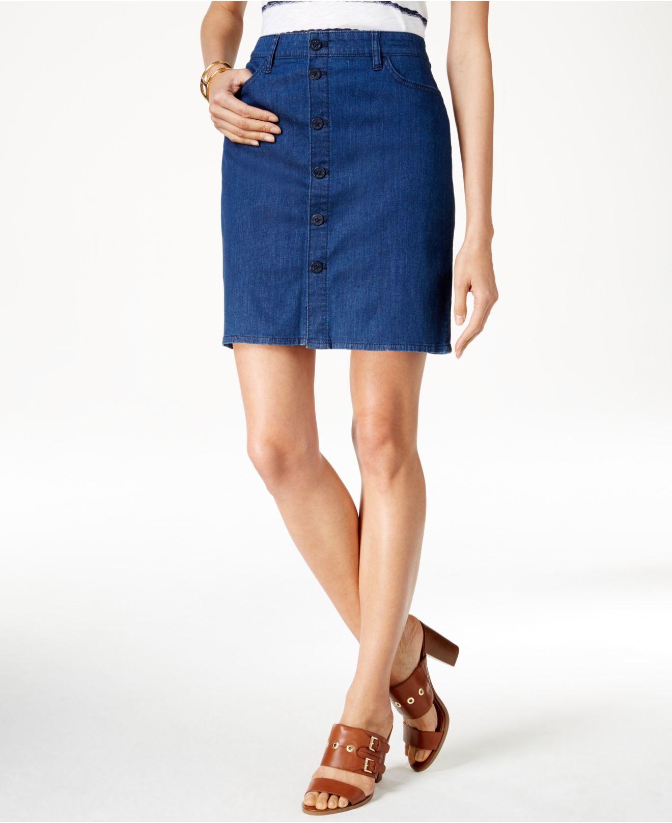 Tommy hilfiger Denim Button-front Medium Wash Pencil Skirt in Blue ...