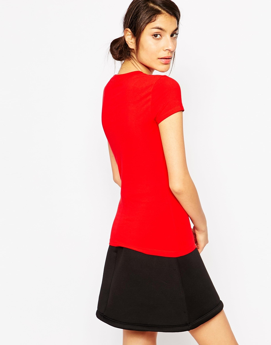 Lyst Love Moschino Plaid Skirt Girl T Shirt In Red