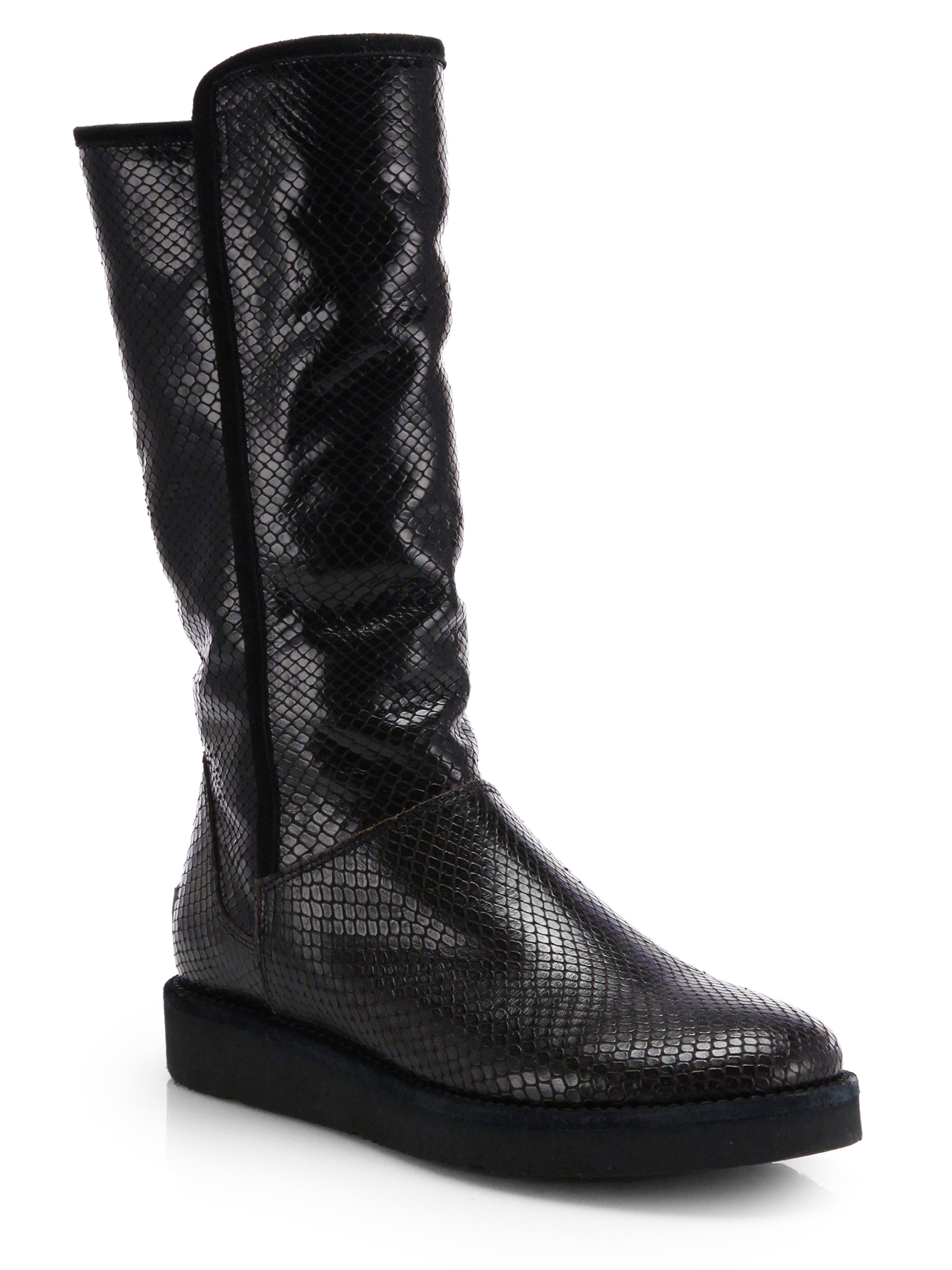 Lyst Ugg Abree Snake Embossed Leather Mid Calf Boots In