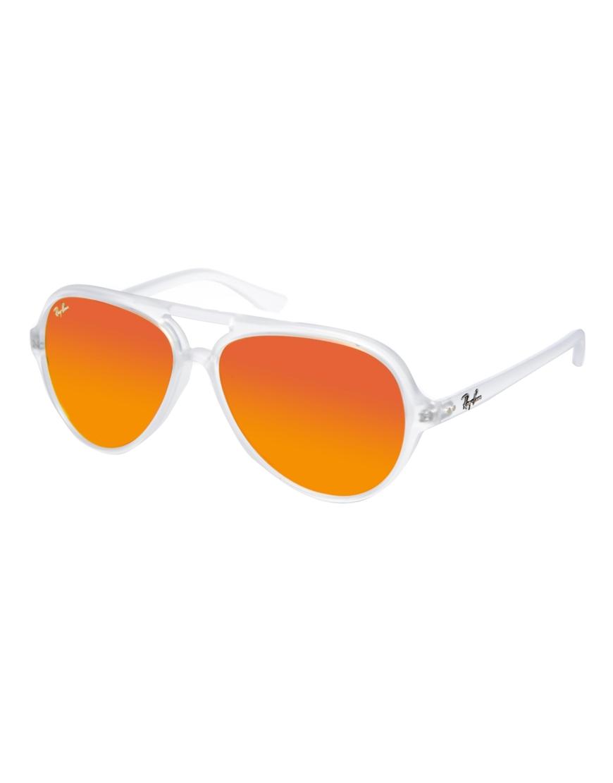 872d2ef990 Ray-Ban Plastic Mirrored Aviator Sunglasses in Orange - Lyst