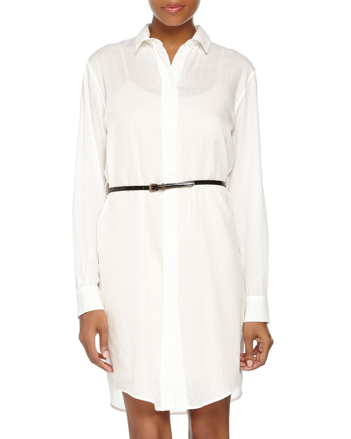Lyst Mcq Button Front Long Sleeve Chiffon Shirt Dress White 48 In