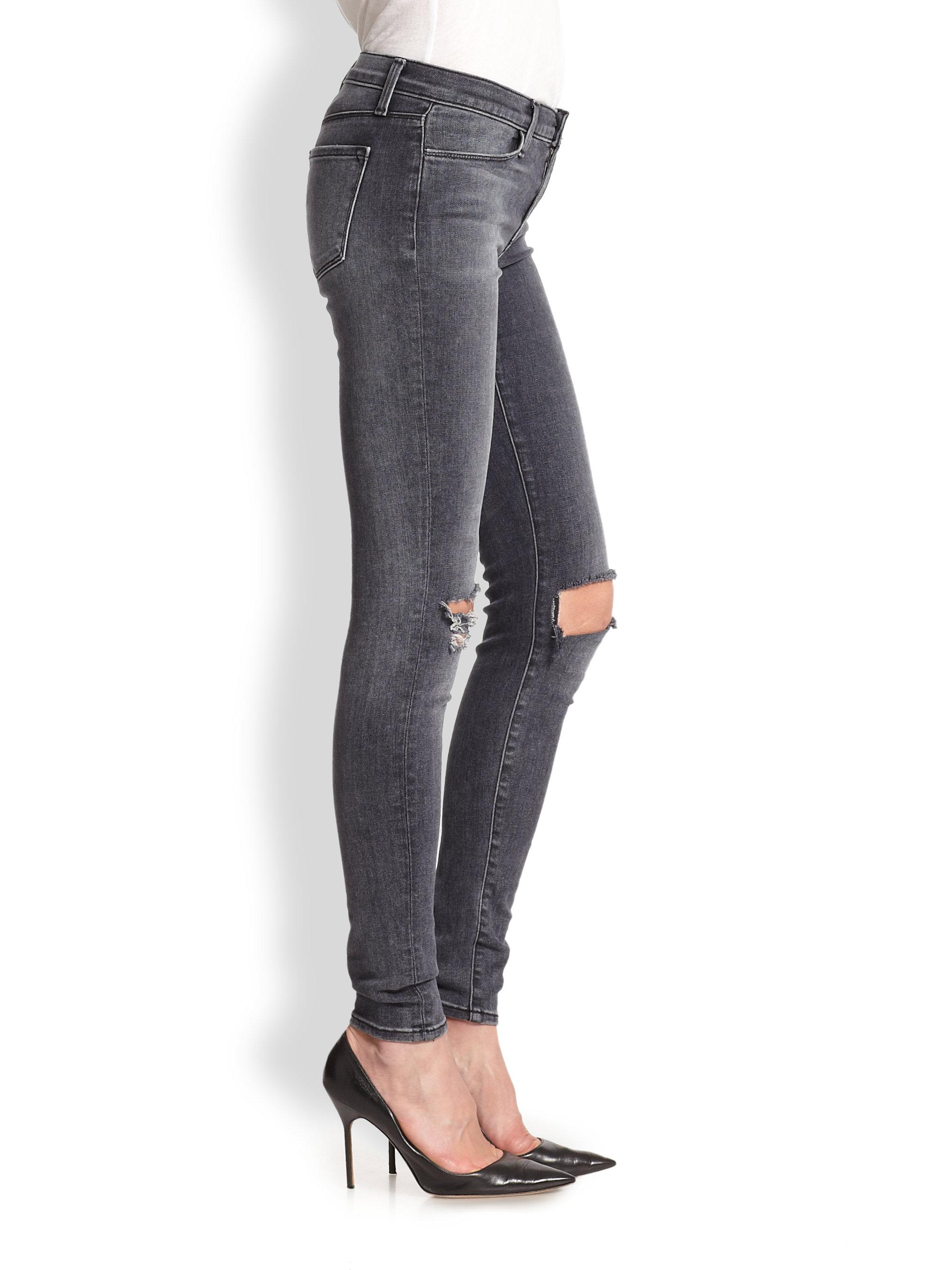 J brand 620 Distressed Skinny Jeans in Black | Lyst
