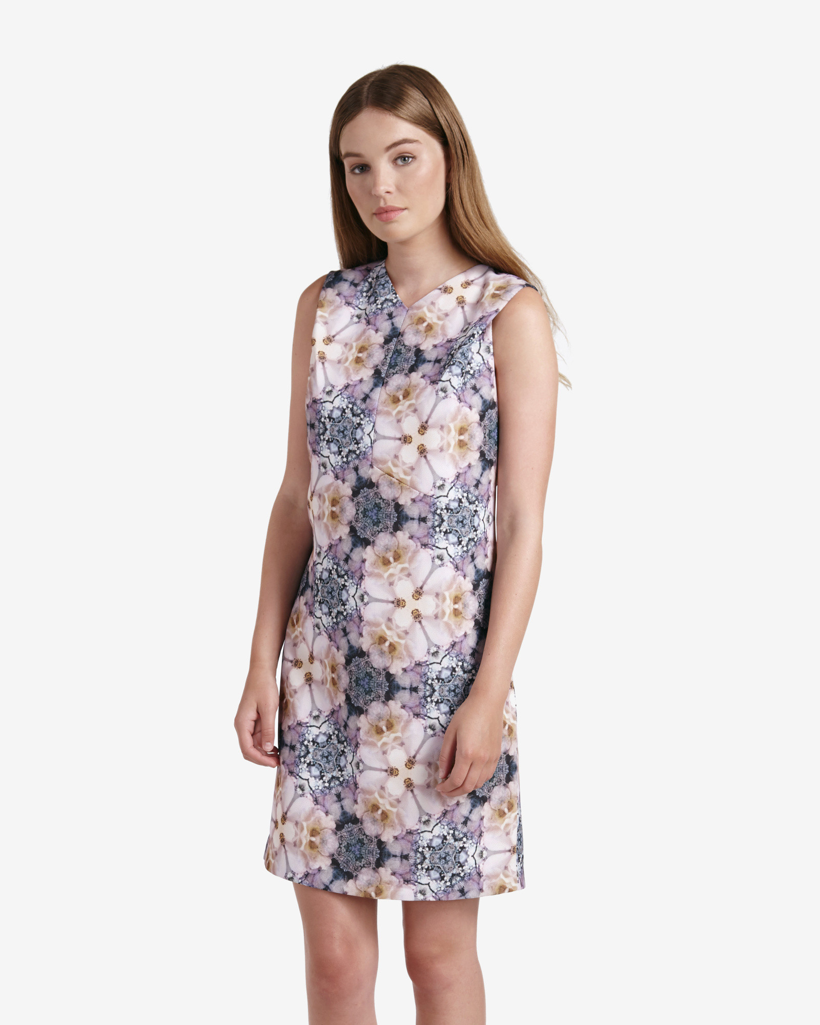 Ted Baker Illonia Tile Floral Geo Shift Dress In Blue Lyst