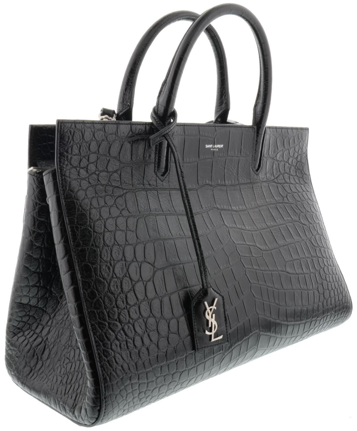ysl mini cabas chyc black - medium cabas rive gauche bag in black crocodile embossed leather