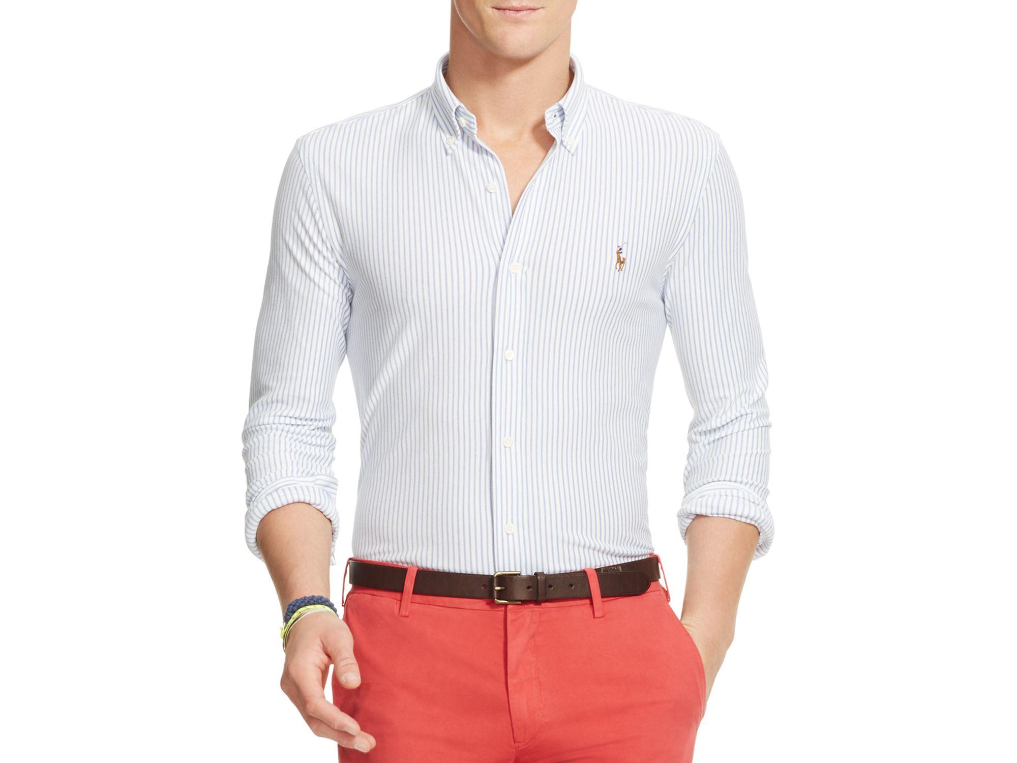 b8814557c Polo Ralph Lauren Striped Knit Oxford Slim Fit Button Down Shirt in ...