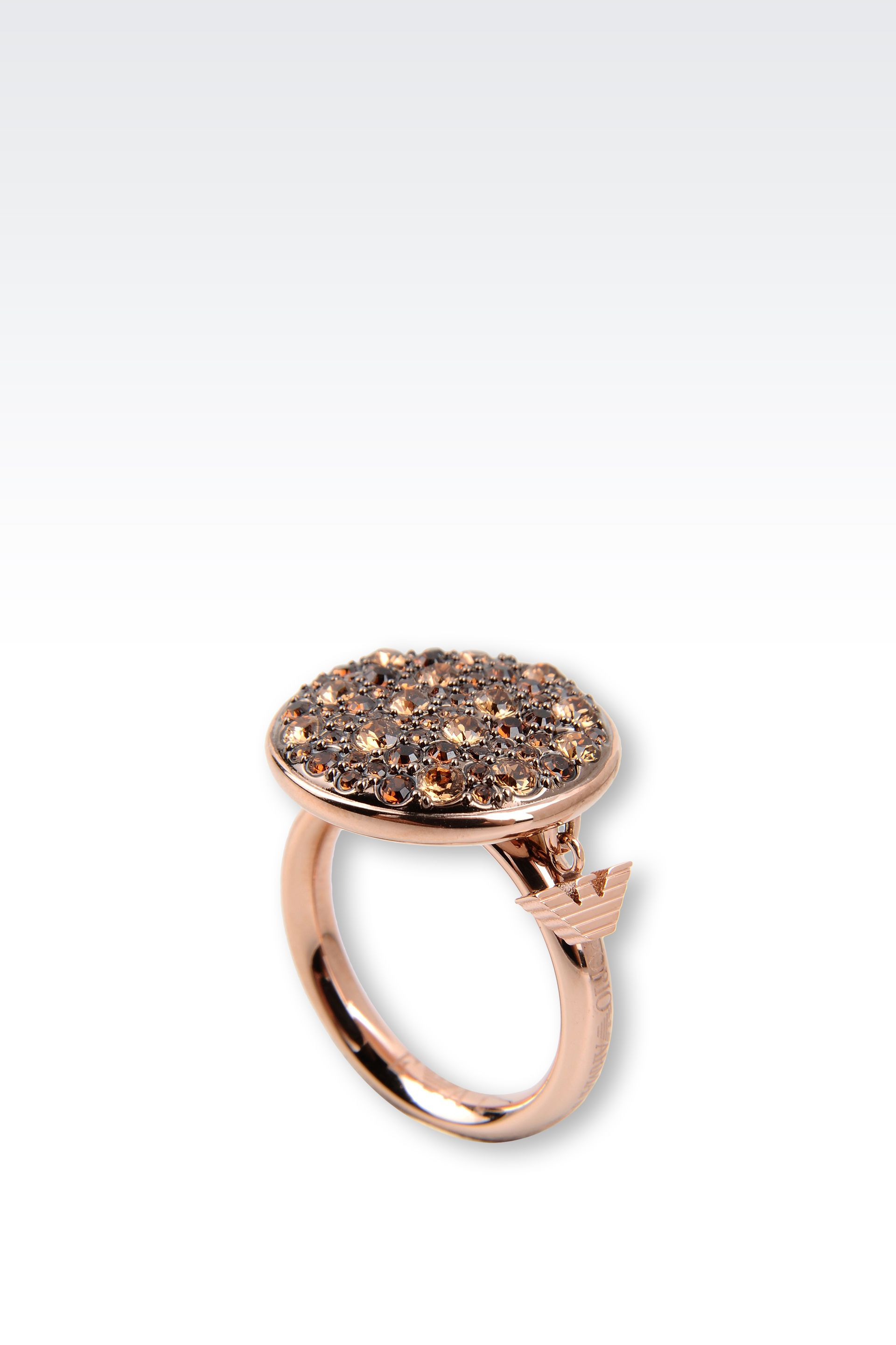 emporio armani ring in gold plated steel and topaz in gold
