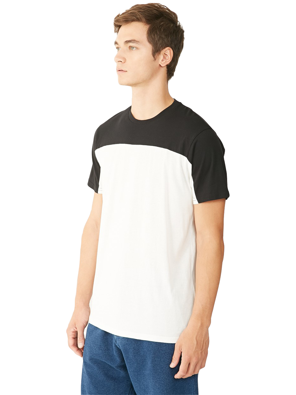 Alternative apparel cotton modal blocked crew t shirt in for Modal t shirts mens