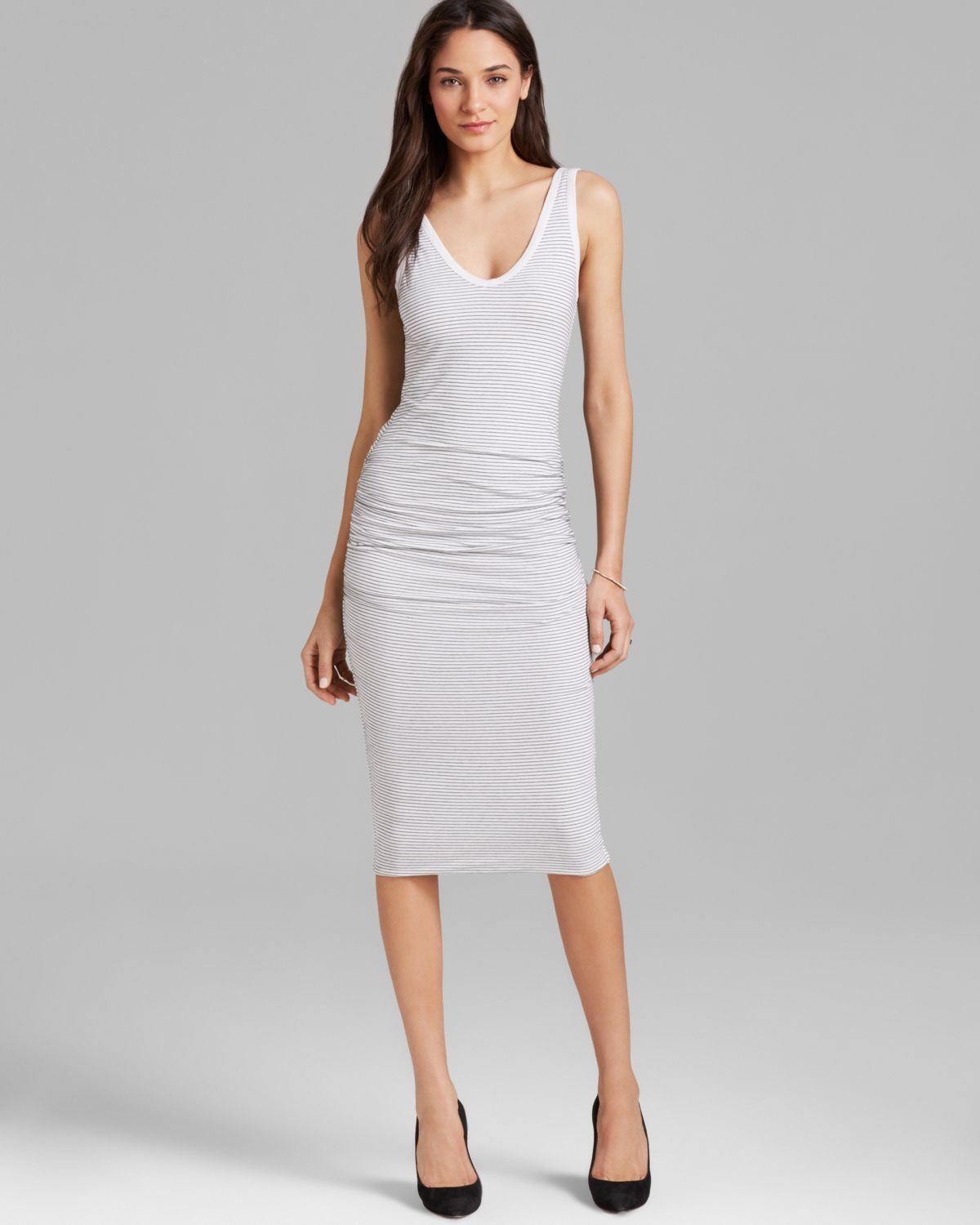 c00777e5ff01cf Lyst - James Perse Tank Dress Skinny Stripe in White