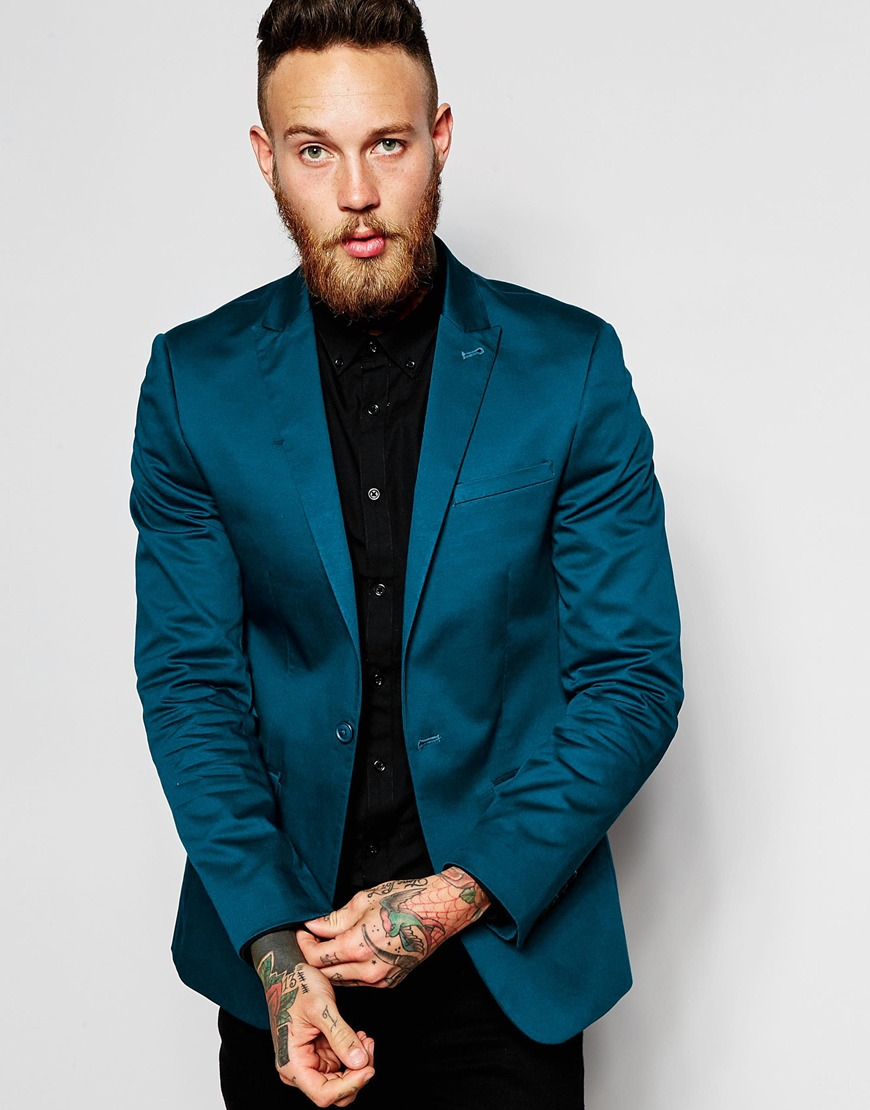 Lyst Asos Skinny Blazer In Cotton In Blue For Men