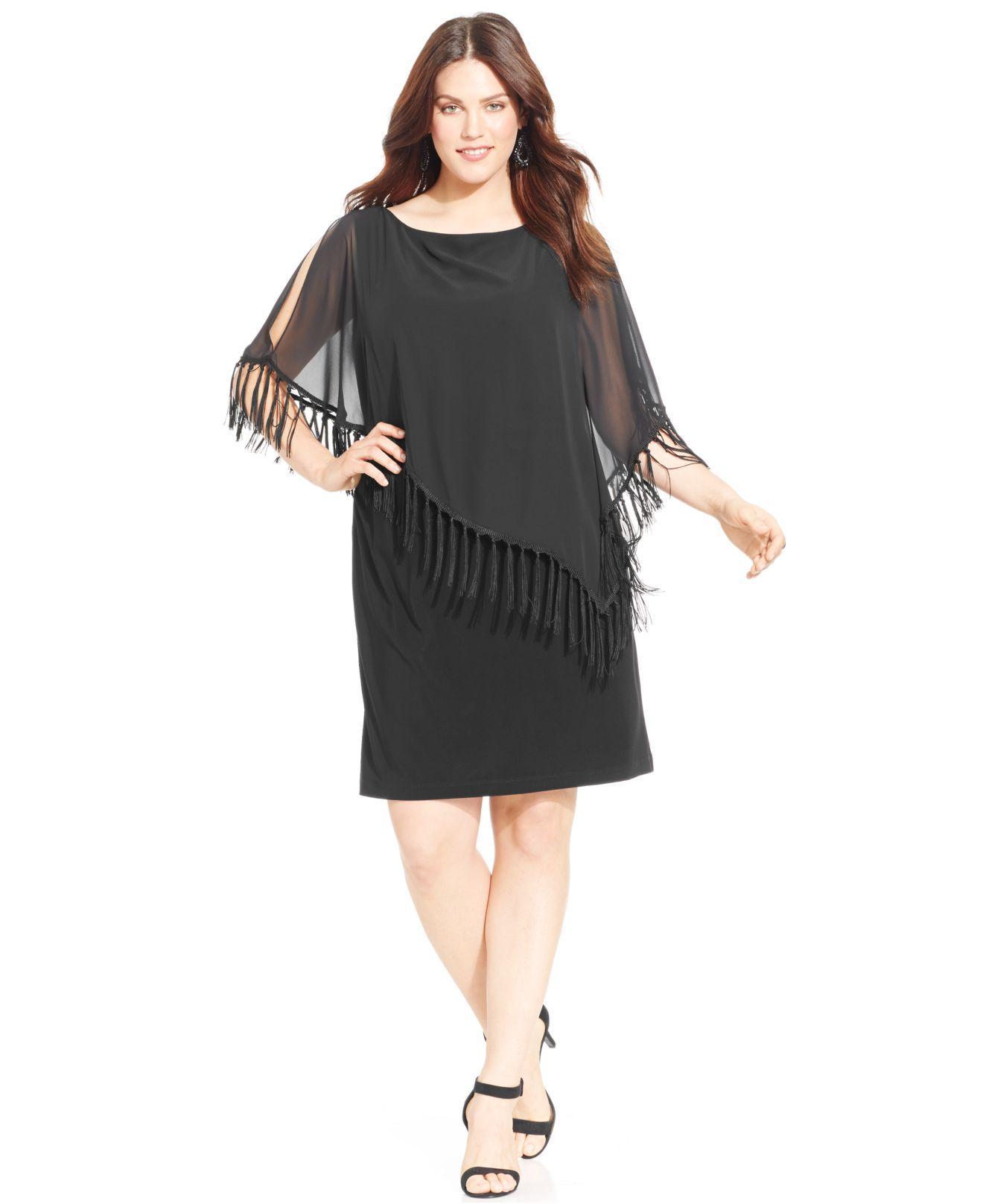 Lyst - Xscape Plus Size Fringe-popover Shift Dress in Black