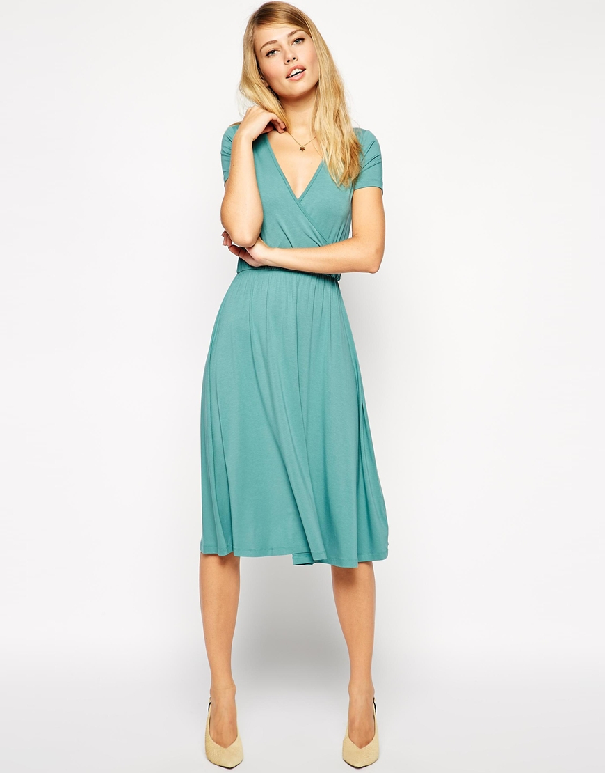 Lyst - Asos Midi Skater Dress With Wrap Front And Short Sleeves in Blue