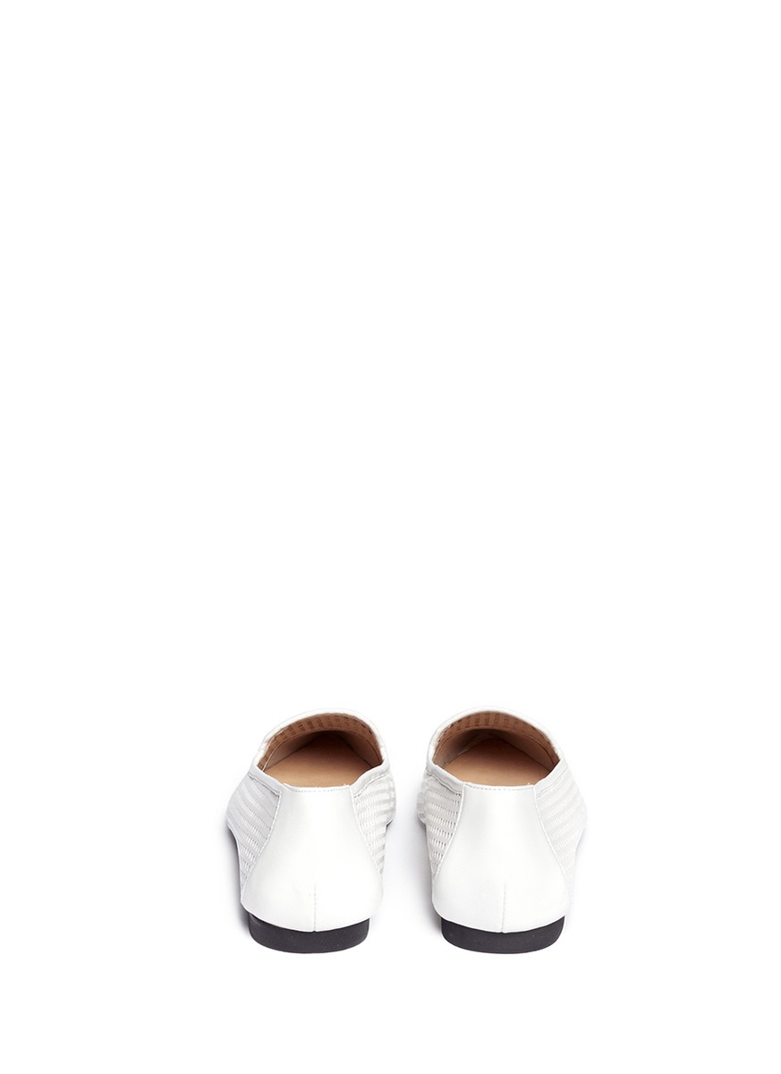 66dc80d62 Pedder Red Perforated Leather Flats in White - Lyst