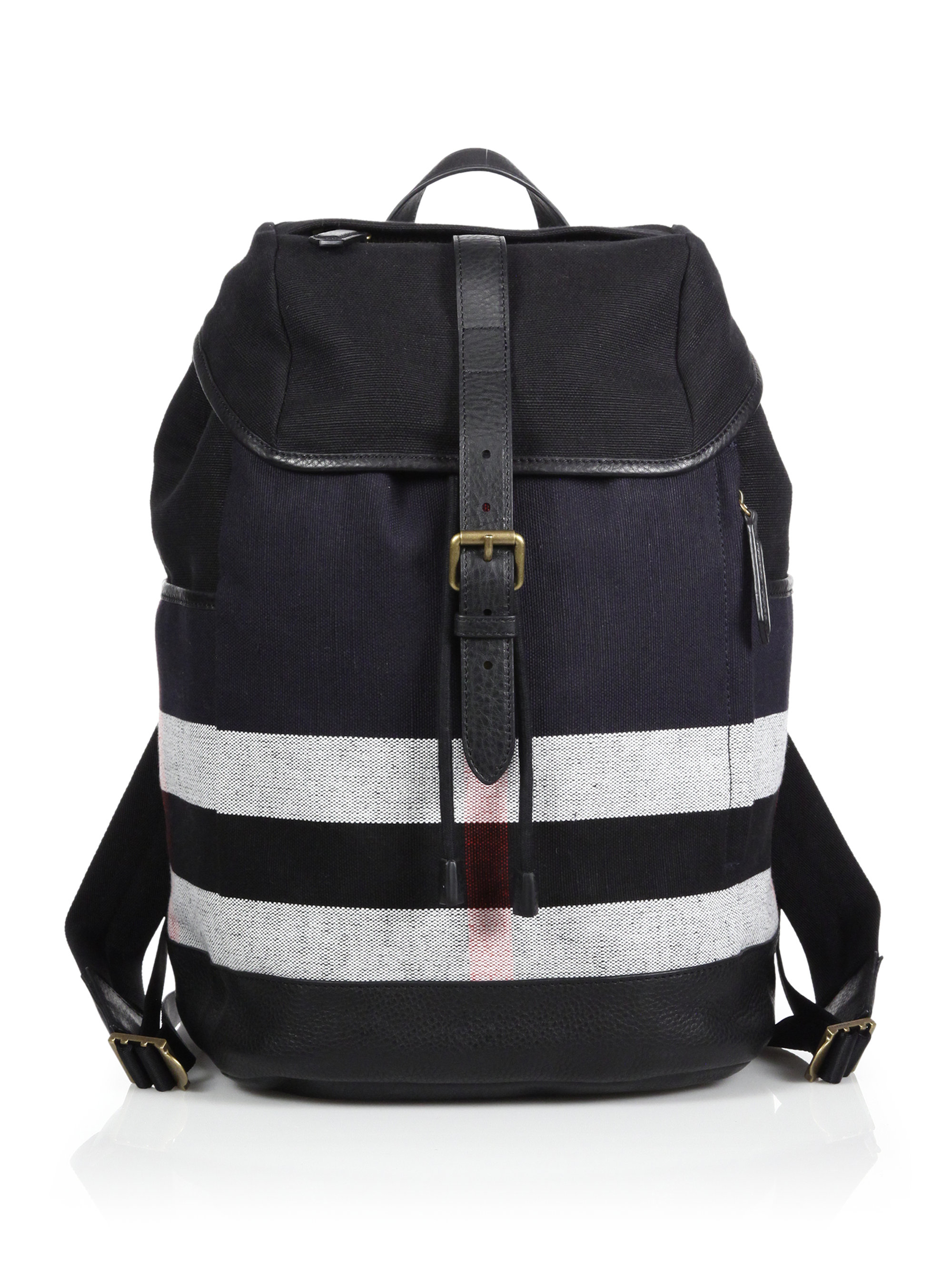 Burberry Canvas Check Leather-Trimmed Backpack in Black for Men | Lyst
