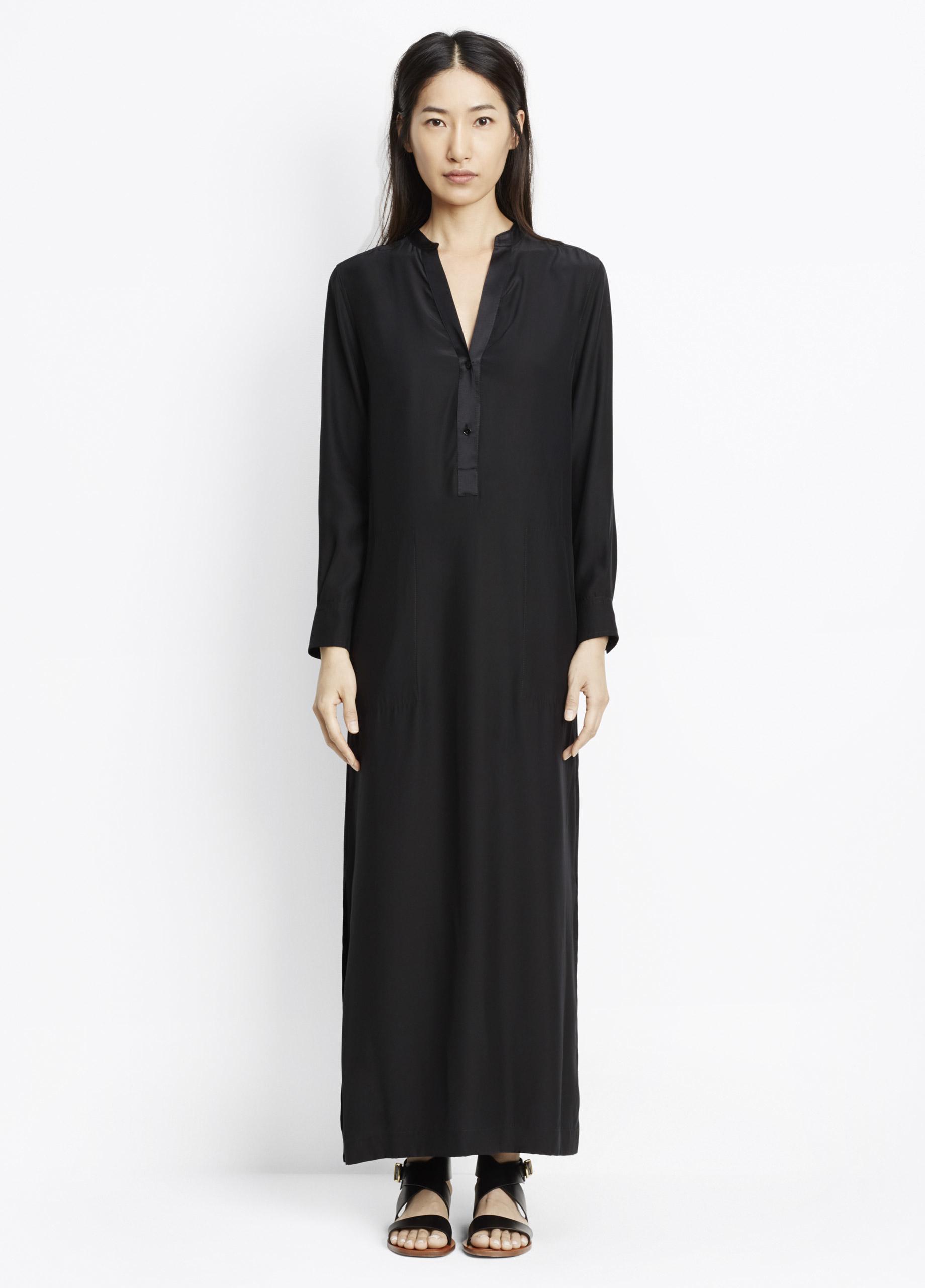 Black silk maxi shirt dress