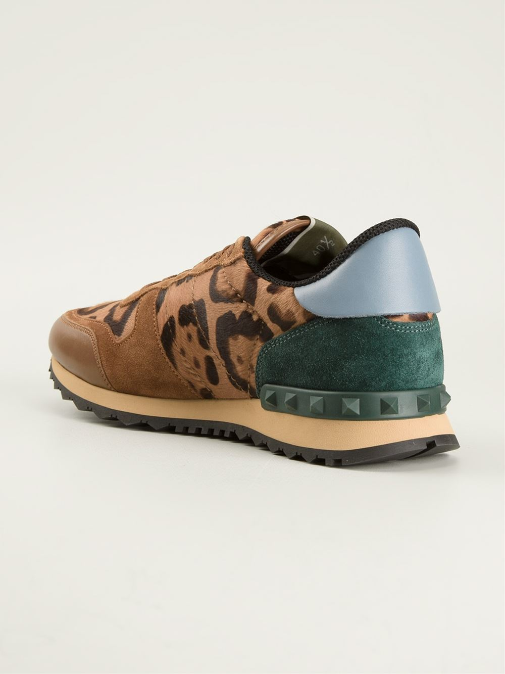 Valentino Leopard Print Sneakers In Brown For Men Lyst