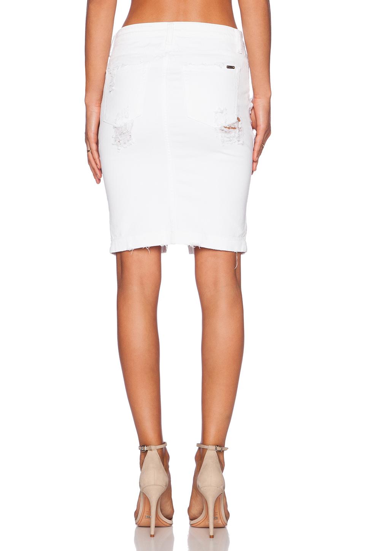 acquaverde naomie denim pencil skirt in white lyst