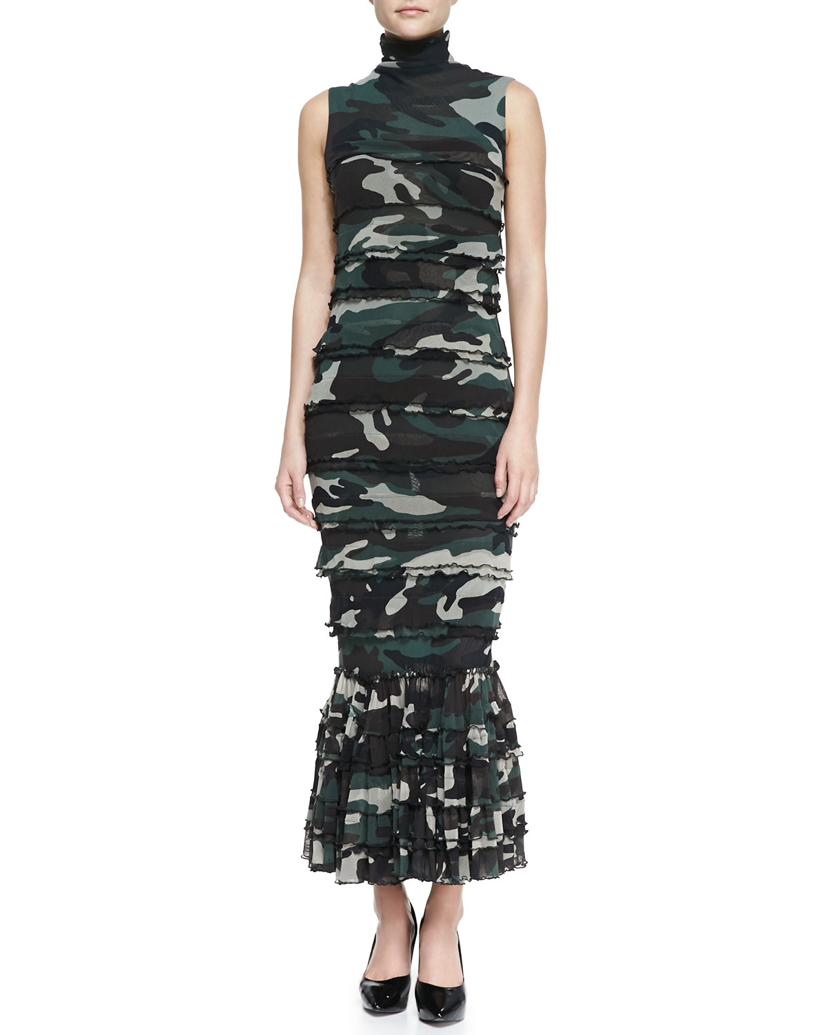 Jean paul gaultier sleeveless tiered camo maxi dress in for Green camo shirt outfit