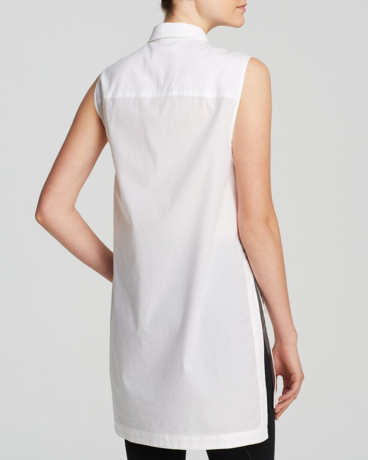 924e66c2 Helmut Lang Top - Cotton Lawn Sleeveless Tunic in White - Lyst
