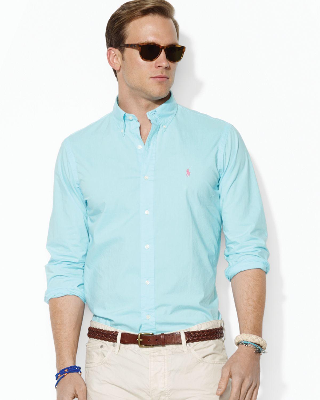 ralph lauren polo poplin sport shirt custom fit in blue