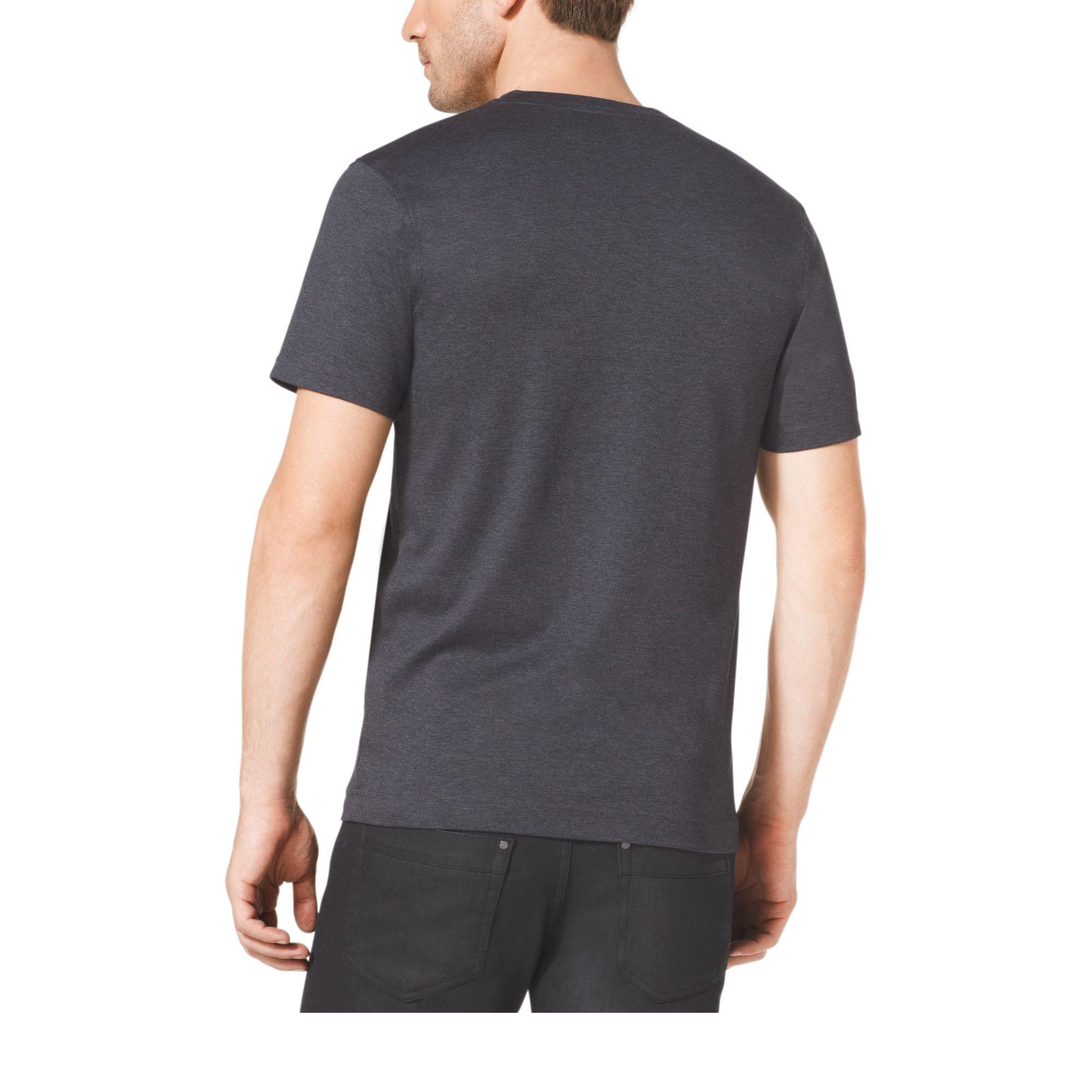 Michael Kors V Neck Cotton T Shirt In Blue For Men Lyst