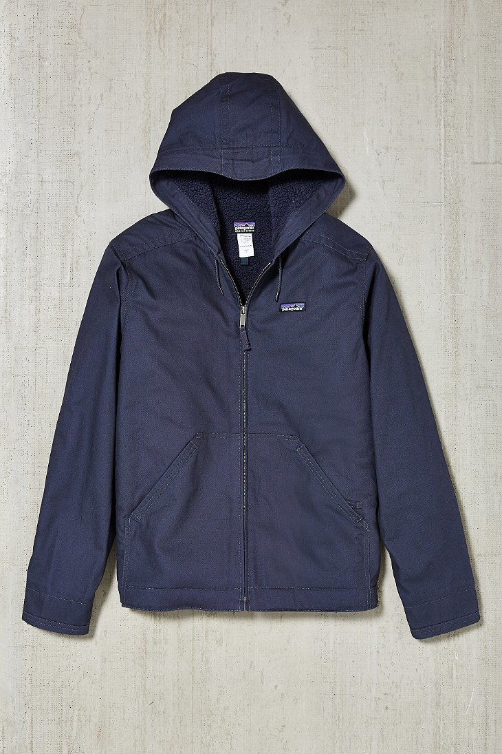 Patagonia Lined Canvas Hooded Jacket In Blue For Men Lyst