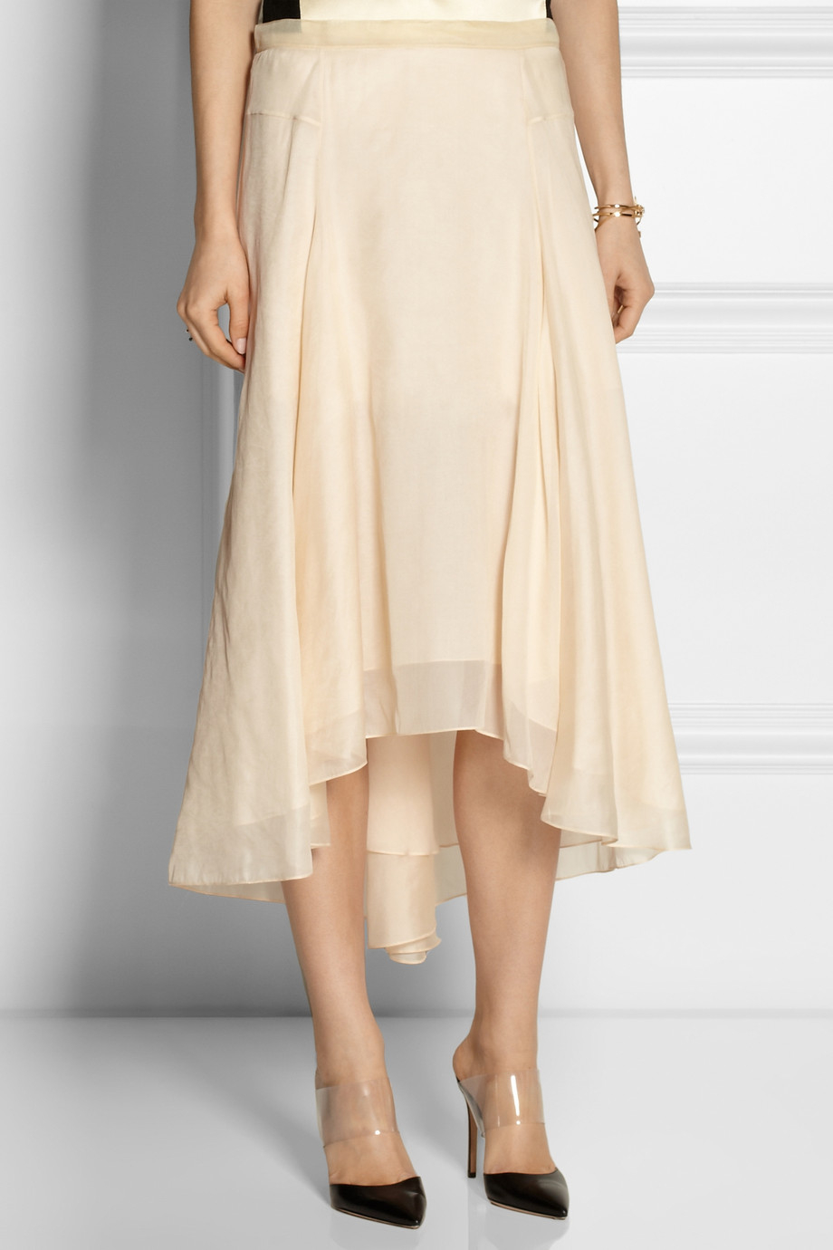 Reed krakoff Silk-chiffon Midi Skirt in Natural | Lyst