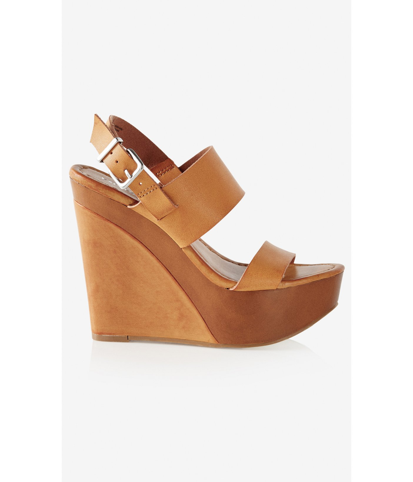 Lyst Express Wide Double Strap Platform Wedge Sandal In