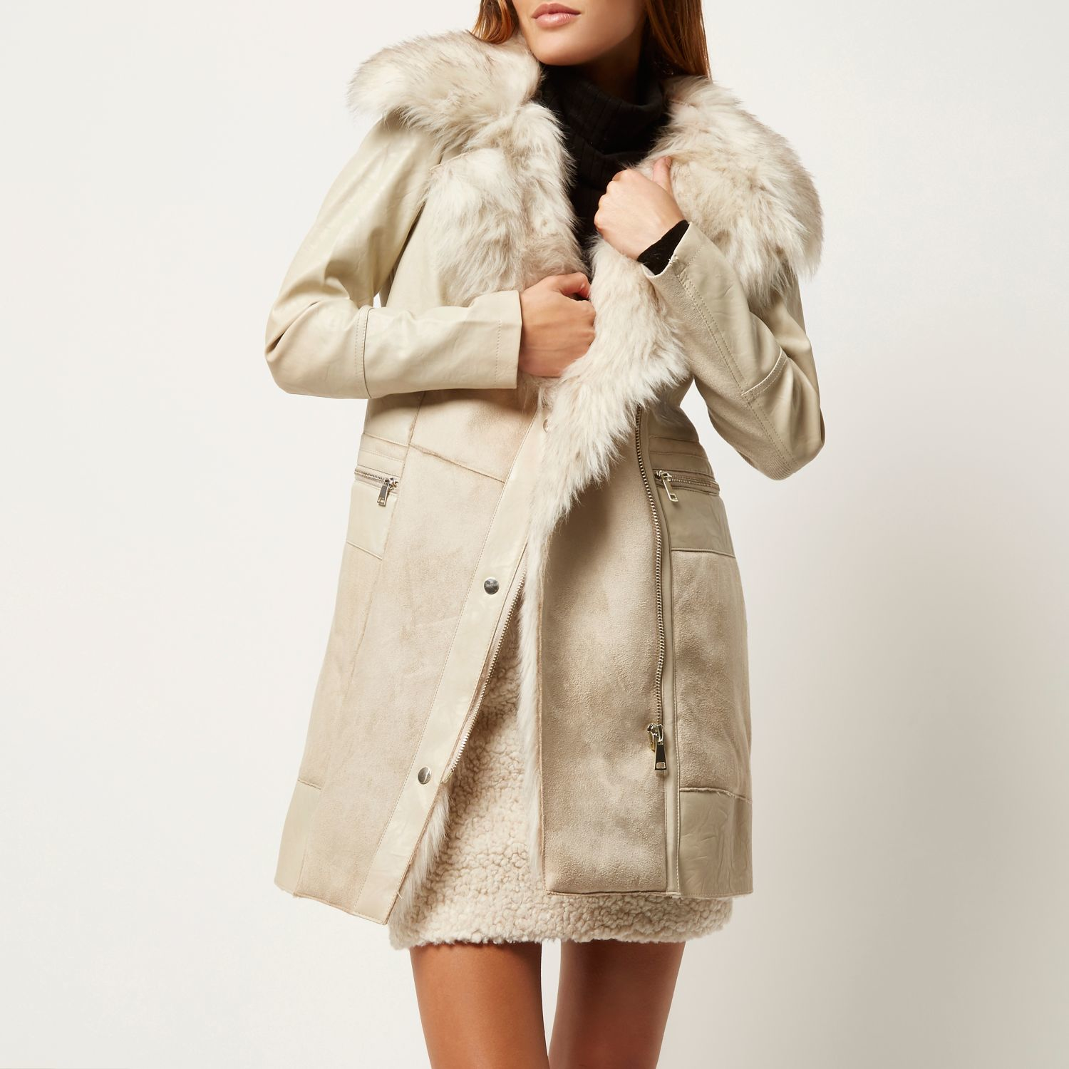customers first select for newest shop for newest River Island Cream Faux Suede Winter Coat in Natural - Lyst