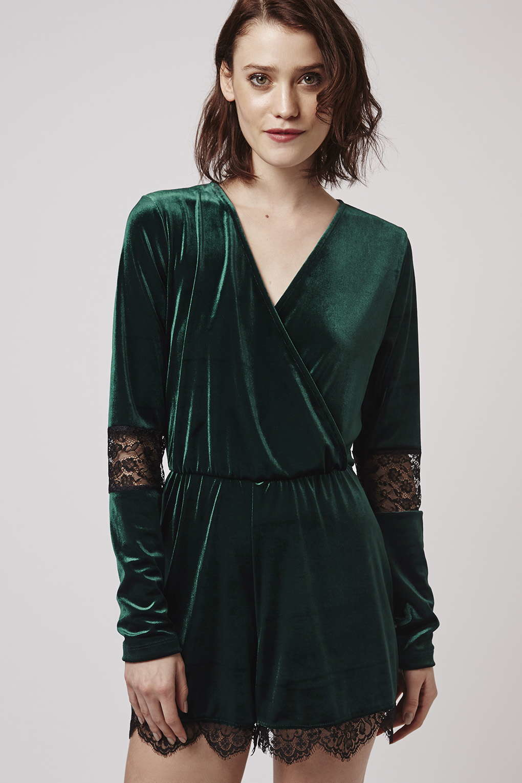 778d318ef34 TOPSHOP Velvet Lace Playsuit in Green - Lyst