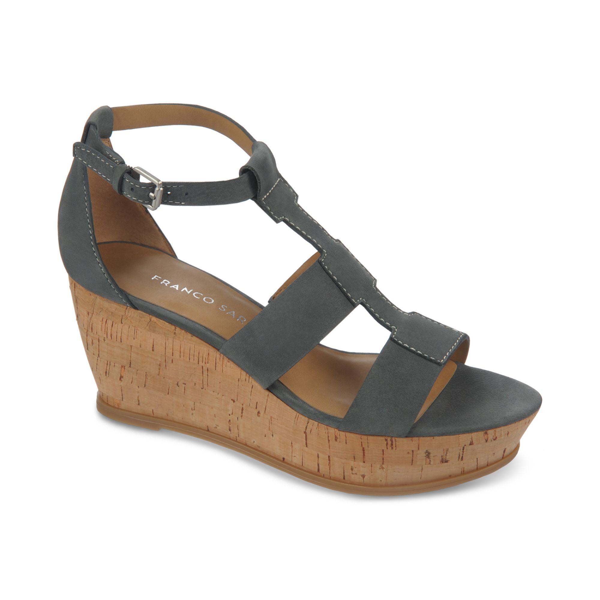 franco sarto falco cork wedge sandals in black lyst