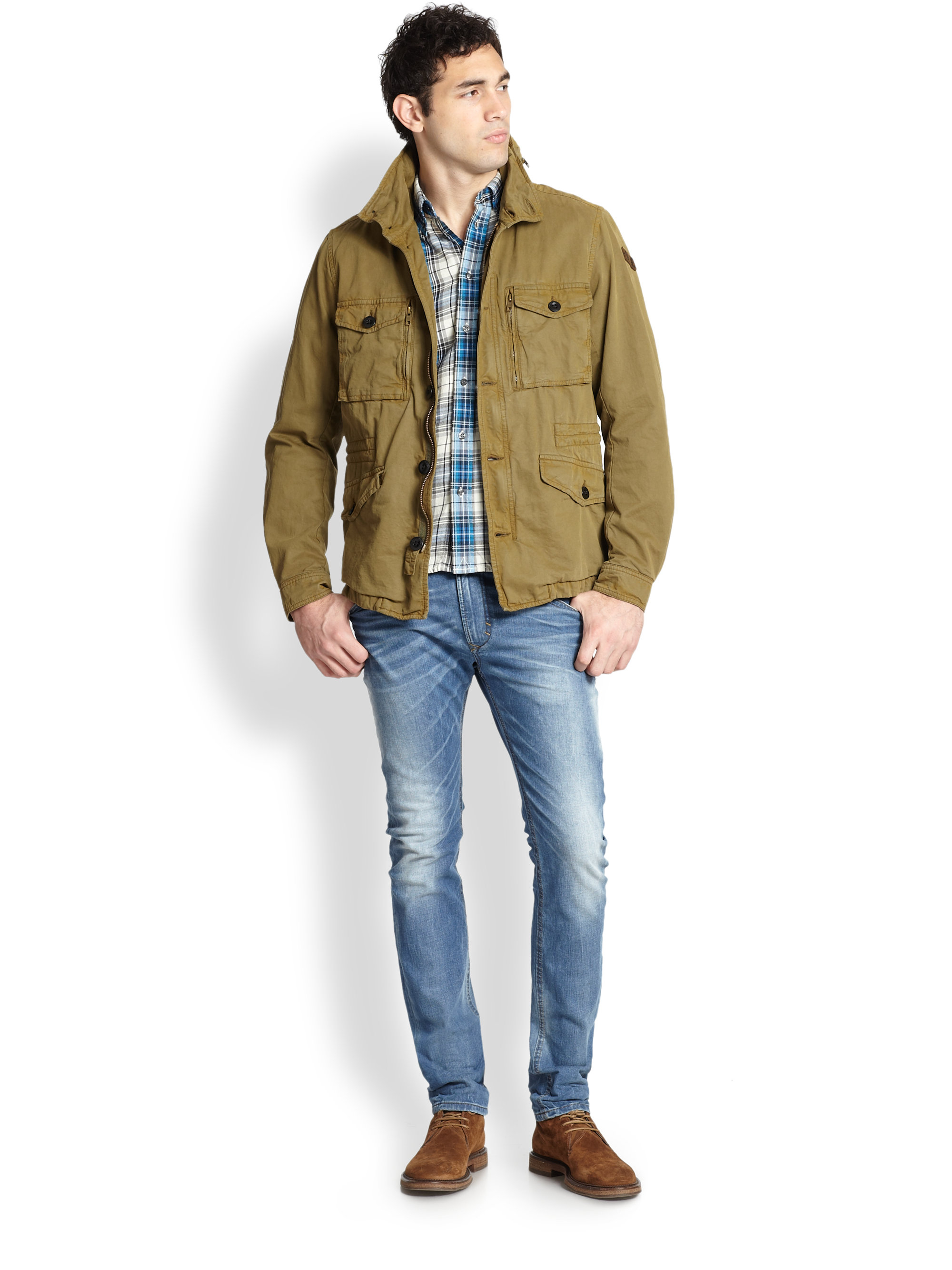 a3b33fb96dfb3 Lyst - DIESEL Twill Military Jacket in Green for Men