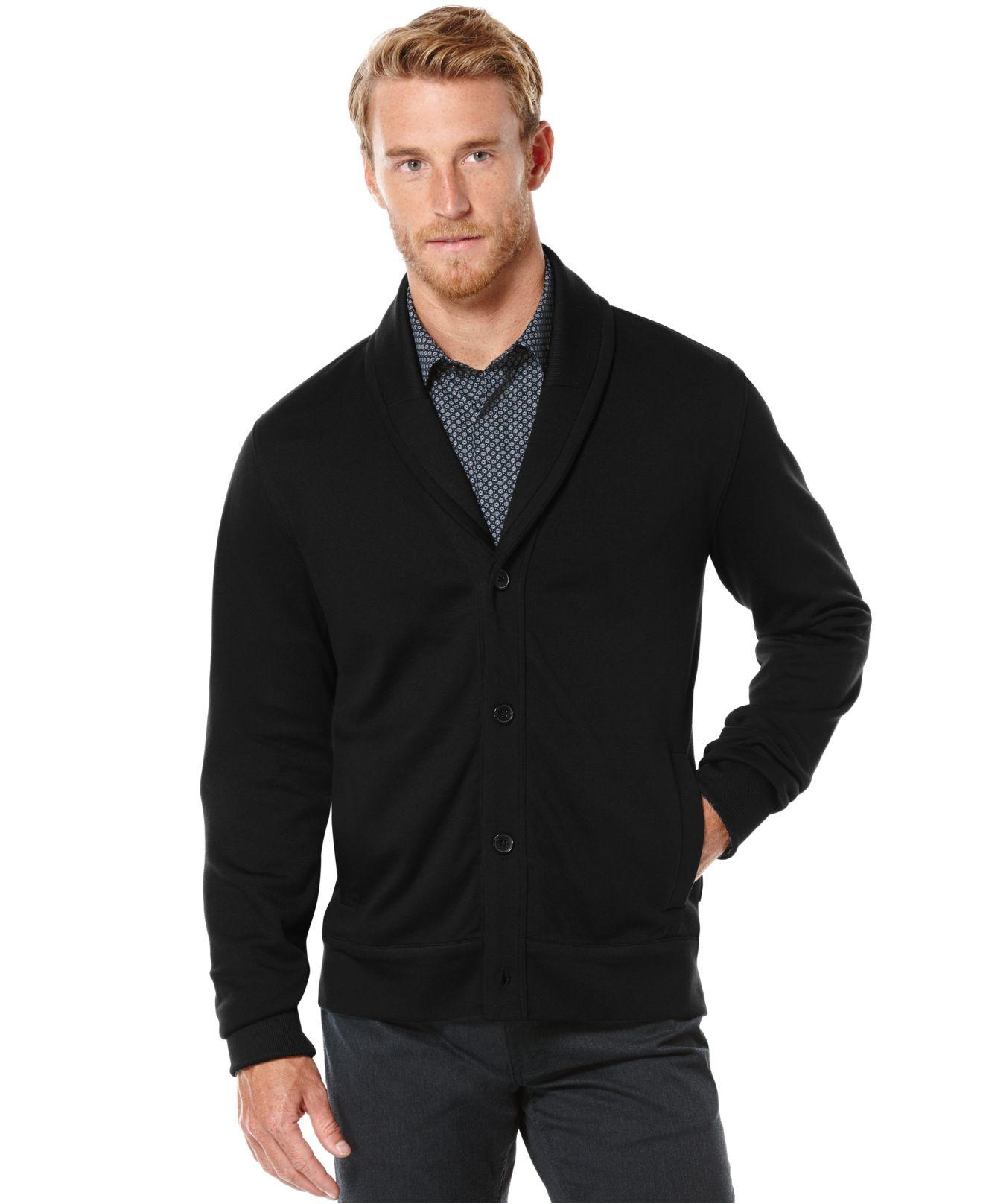 Perry ellis Jacquard Shawl-collar Sweater Jacket in Black for Men ...