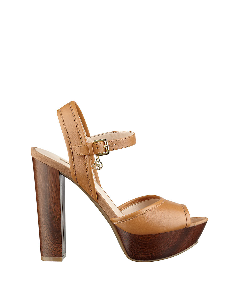 Guess Pursey Leather Peep Toe Platform Sandals In Brown Lyst