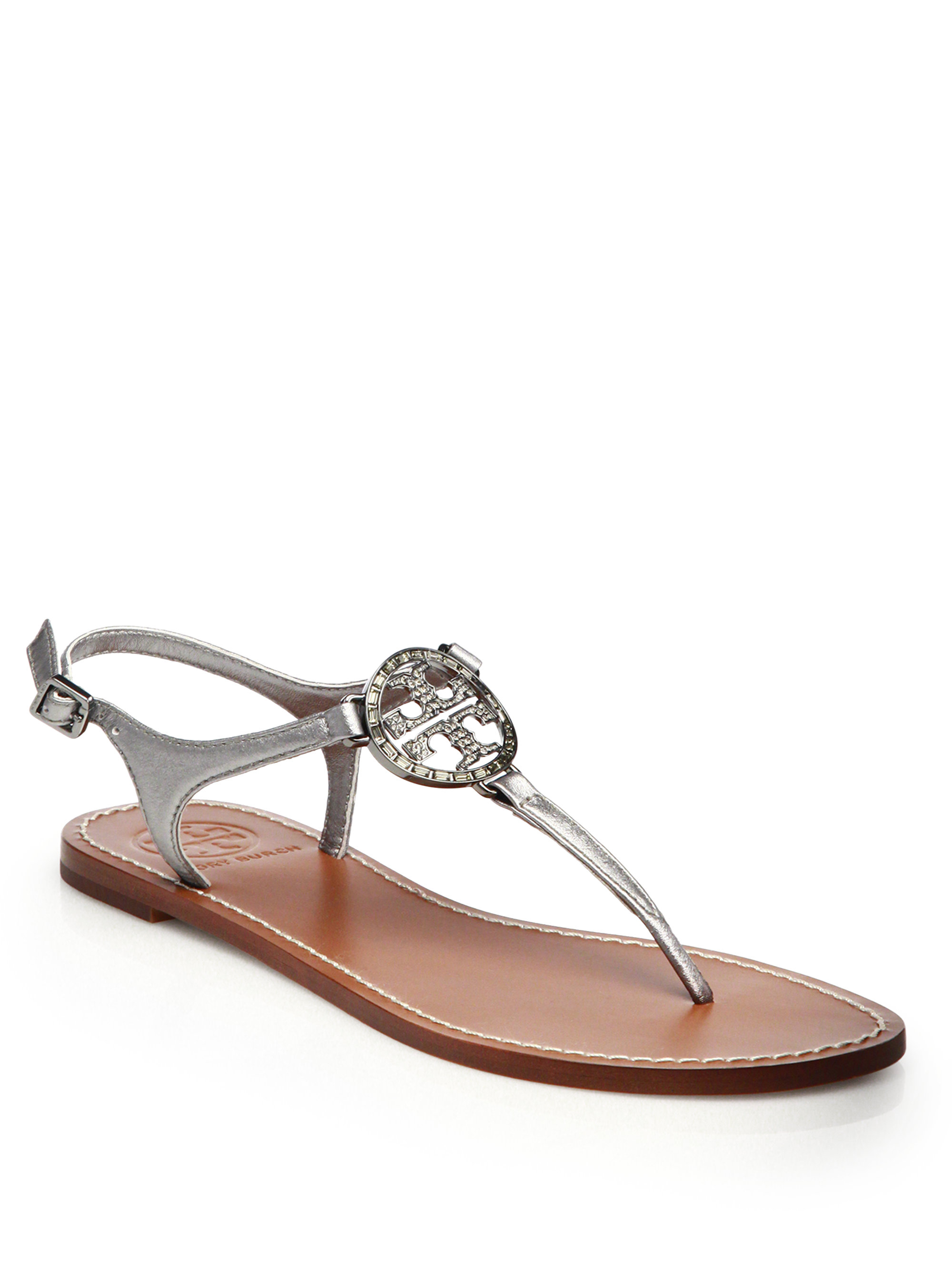3ca218363868 Lyst - Tory Burch Violet Metallic Leather Thong Sandals in Metallic