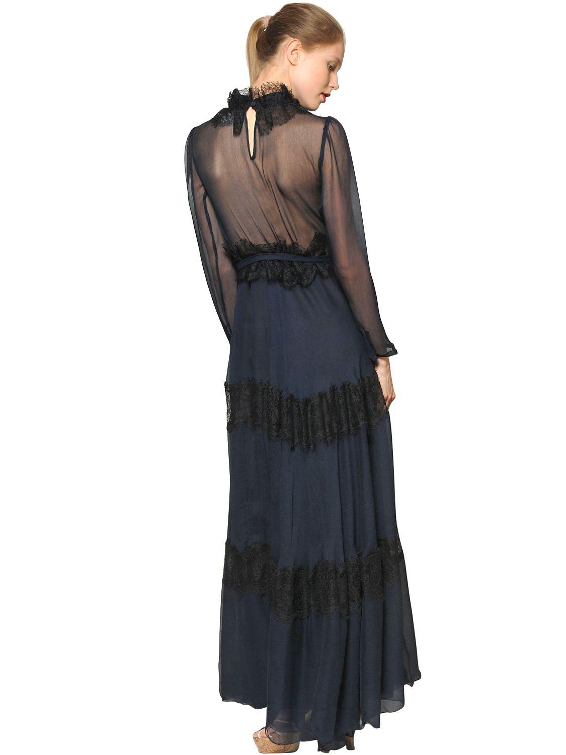 Luisa Beccaria Lace Amp Chiffon Long Dress In Black Lyst