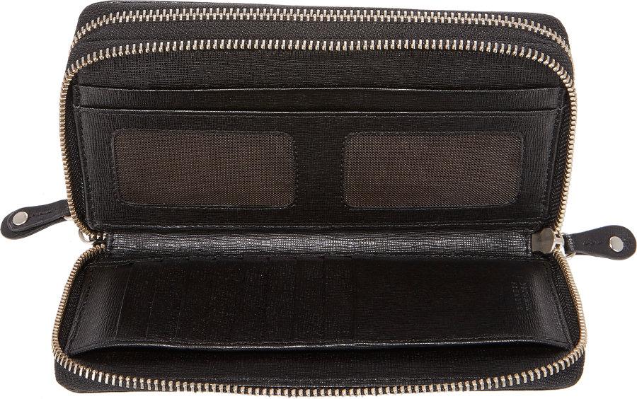 Lyst - Barneys New York Double Zip-Around Travel Wallet in Black for Men 74118d8641aa5