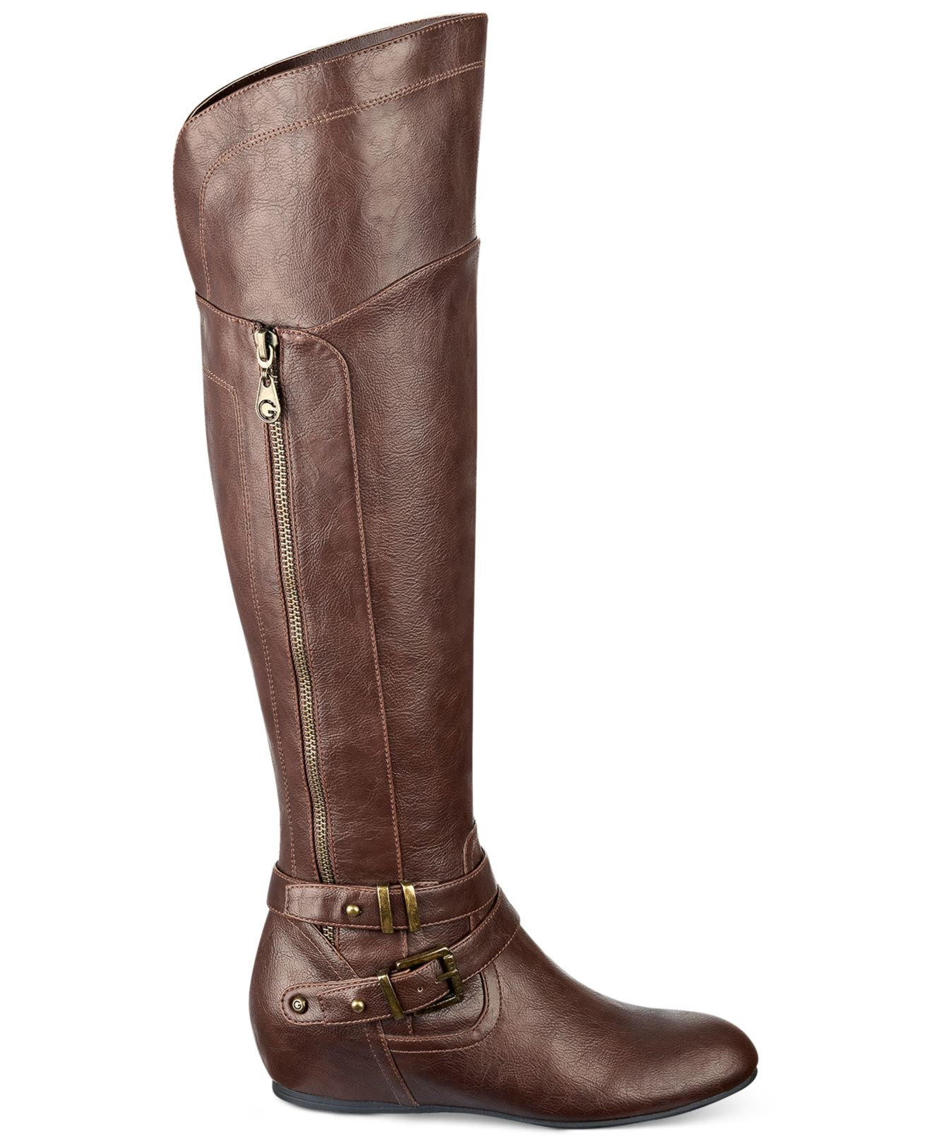 g by guess gaines knee high wedge boots in brown lyst