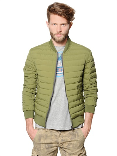 Colmar Quilted Light Nylon Down Bomber Jacket in Green for Men | Lyst