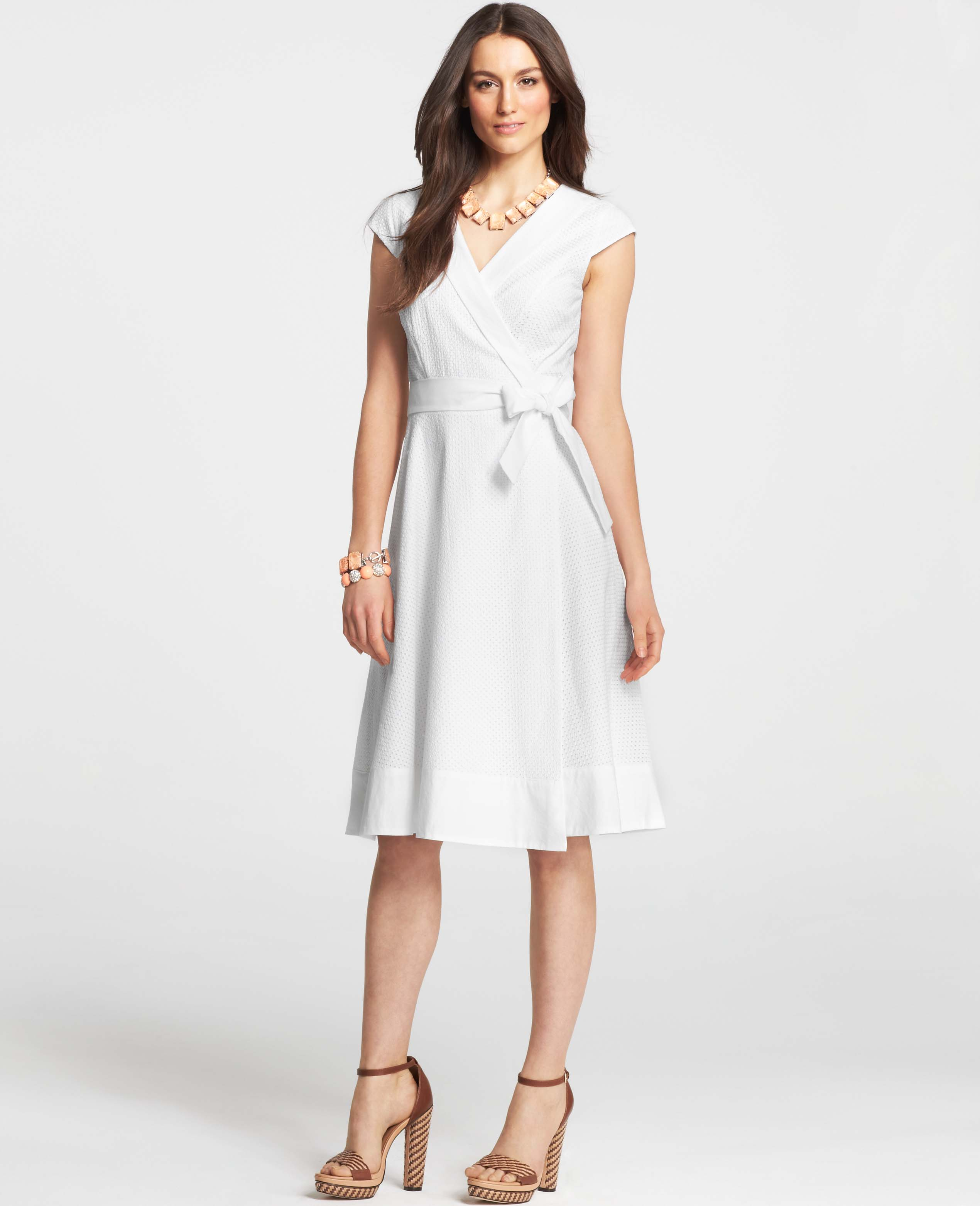 Ann taylor Petite Cotton Eyelet Wrap Dress in White | Lyst