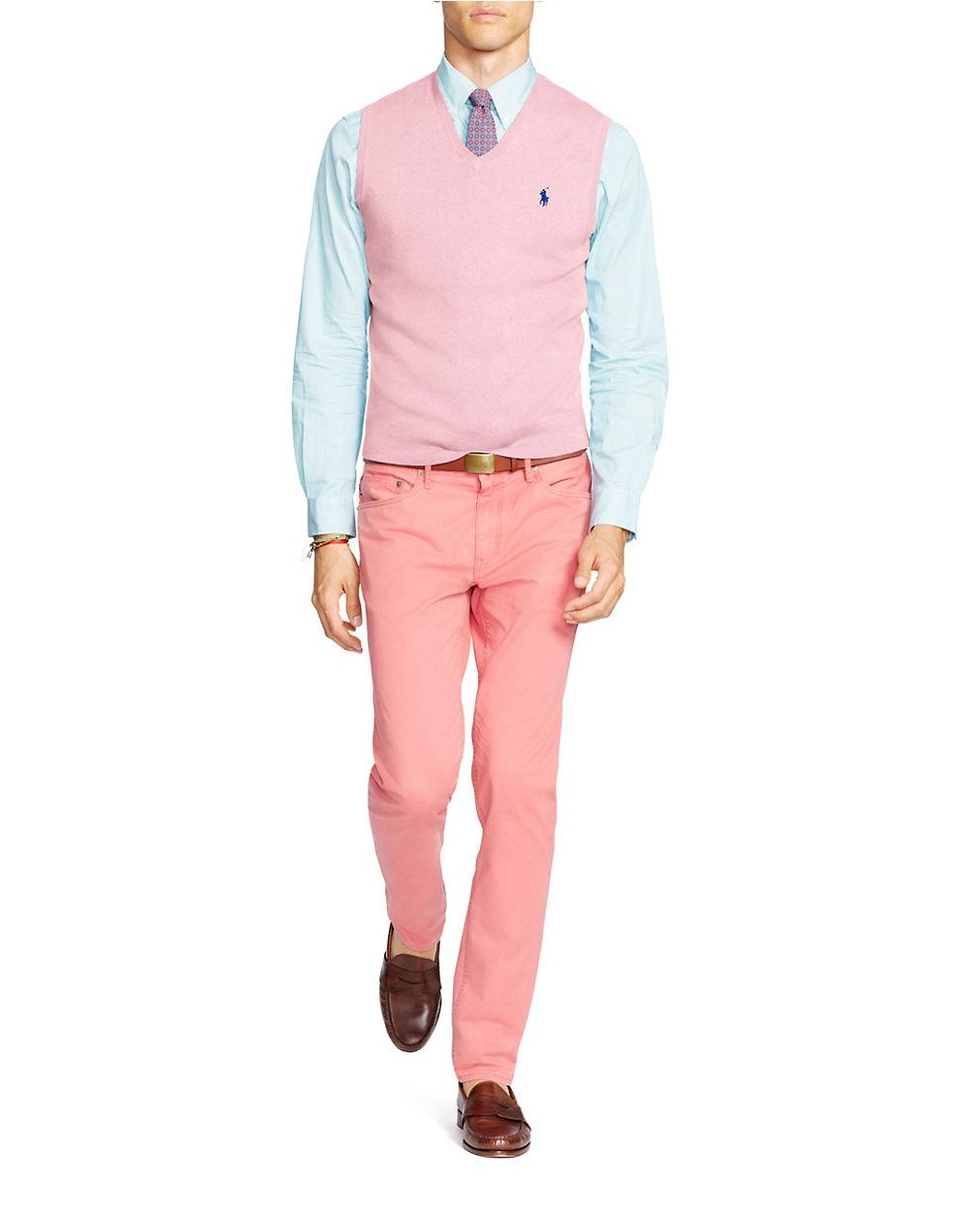 polo ralph lauren pima v neck vest in pink for men lyst. Black Bedroom Furniture Sets. Home Design Ideas